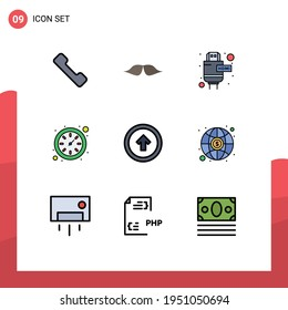 9 Thematic Vector Filledline Flat Colors and Editable Symbols of user interface; button; cable; arrow; time Editable Vector Design Elements