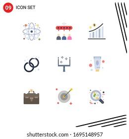 9 Flat Colors der thematischen Vektorillustration und Bearbeitbare Symbole der Pfanne; Mode; Unternehmen; Ohrringe; Bearbeiten von Design-Elementen für bearbeitbare Vektorillustrationen