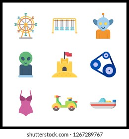 9 travel icon. Vector illustration travel set. sand castle and ferris whell icons for travel works