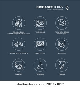 9 Trichomonas Infection (Trichomoniasis), Trichinosis, Tinnitus, Tonsillitis, Tooth decay, Traumatic Brain Injury (TBI) modern icons on black background, vector illustration, eps10, trendy icon set.
