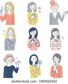9 upper body set of smiling women