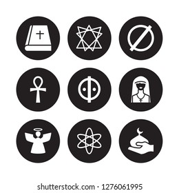 9 vector icon set : Bible, Bahai, Angel, Anglican, animism, atheism, Ankh, agnosticism isolated on black background