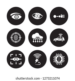 9 vector icon set : Bionic eye, contact lens, Augmented reality, Autonomous car, Big data, arm, Biometrics, Wireless charging isolated on black background