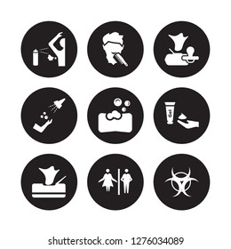 9 vector icon set : body odour, beardy, Wipes, shaving gel, soap bar, baby wipe, ablution, Wc isolated on black background