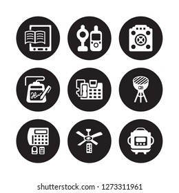 9 vector icon set : book reader, baby monitor, burglar alarm, BBQ grill, answering machine, asic miner, electronic, ceiling fan isolated on black background
