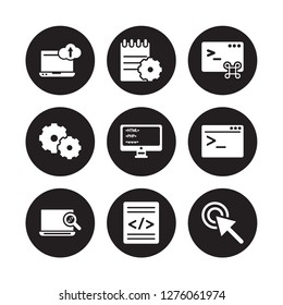 9 vector icon set : Computing, Compiler, Code review, terminal, Coding, Command, Cogwheel, isolated on black background