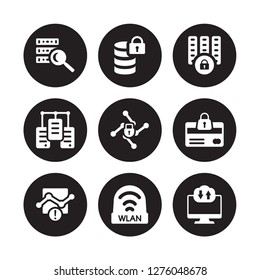9 vector icon set : data search, Data protection, Connection error, Cit card security, Cyber locked, center, wlan isolated on black background