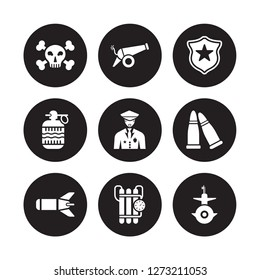9 vector icon set : Dead, Cannon, Torpedo, Two Bullets, Veteran, Badge, Whizbang with Rong, Time Bomb Clock isolated on black background