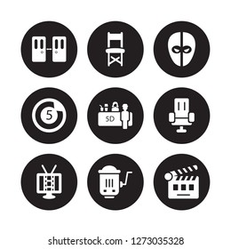 9 vector icon set : Doorway, Director chair, cinema screen, Cinema seats, Snack Bar, deadpool, Countdown, hurdy gurdy isolated on black background