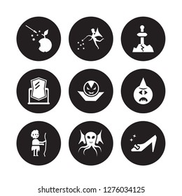 9 vector icon set : Fairy tale, Fairy, Curupira, Cyclops, Dracula, Excalibur, Enchanted mirror, Cthulhu isolated on black background