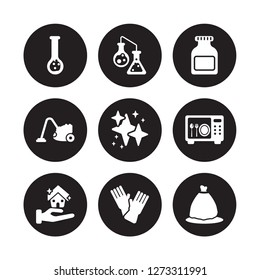 9 vector icon set : Hard Water, Chemical Reaction, clean-living, sterilization, neat, Acid, hoover, sanitize isolated on black background