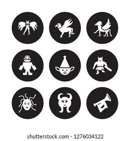 9 vector icon set : Harpy, Gryphon, female Medusa, Giant, Goblin, Griffin, Golem, Faun isolated on black background