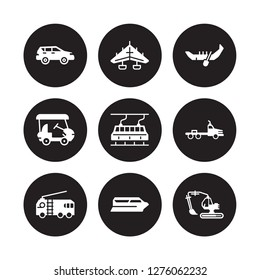 9 vector icon set : hatchback, hang glider, Fire truck, flatbed lorry, funicular railway, gondola, Golf cart, Ferry boat isolated on black background