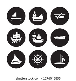 9 vector icon set : iceboat, gunboat, felucca, motorboat, caravel, skiff, trireme, marine isolated on black background