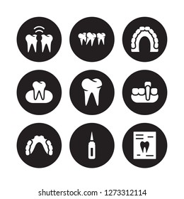 9 vector icon set : Interproximal, Malocclusion, Partial Denture, Overdenture, Oral, Maxilla, Occlusal, Sealants isolated on black background