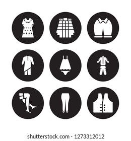 9 vector icon set : Kaftan, Kilt, stockings, tracksuit, Nightwear, Knickers, Kurta, briefs isolated on black background