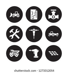 9 vector icon set : Loader, Construction plan, Dumper, Scraper, Jackhammer, Gas pipe, Spanner, blowtorch isolated on black background