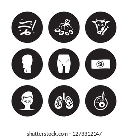 9 vector icon set : Lupus, Lung cancer, Leukemia, Lice, Limbtoosa, Loiasis, Listeriosis, Leptospirosis isolated on black background