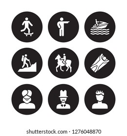 9 vector icon set : man riding Skateboarding, Man pointing, face with turban and beard, Flying, Horseriding, Jet ski, in Hike, top hat isolated on black background