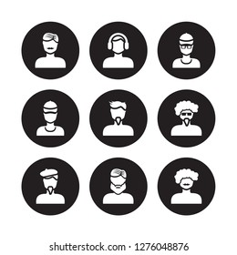 9 vector icon set : Man face with moustache, headphones, beret and goatee, glasses goatee isolated on black background