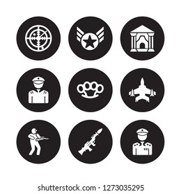 9 vector icon set : Militar Radar, In, Infantry, Jet, Knuckle, antique building, lieutenant, Grenade Launcher isolated on black background