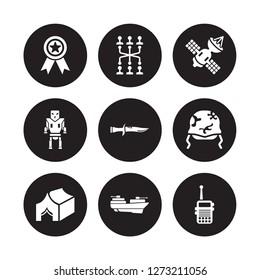 9 vector icon set : Militaty Medal, Military strategy, Militar Tent, Helmet, Knife, Satellites, robot machine, militar ship isolated on black background