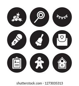 9 vector icon set : mistletoe, Lollipop, Guest list, Invitation, Jingle bell, Lights, Karaoke, Gingerbread man isolated on black background