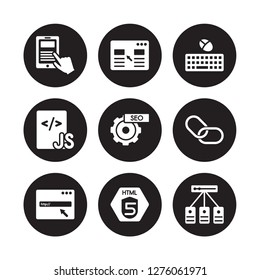 9 vector icon set : Mobile app, Landing page, Http, Hyperlink, Image SEO, Keyboard and mouse, Js, Html5 isolated on black background