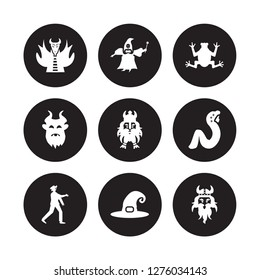 9 vector icon set : myth, fairy godmother, Zombie, rapunzel, Dwarf, toad, beast, Witch hat isolated on black background