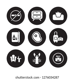 9 vector icon set : No pets, Nightstand, Lounge, Luggage, Meat, Napkins, Minibar, Lobster isolated on black background