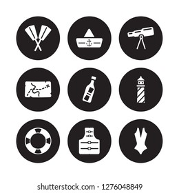 9 vector icon set : Oars, Navy Hat, Life preserver, Lighthouse, Message In a Bottle, Nautical Monocular, nautical Map, Jacket isolated on black background