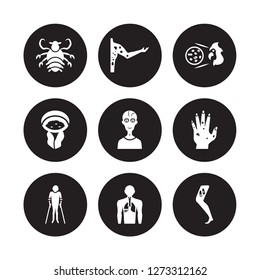 9 vector icon set : Pertussis, Peritonitis, Parasites äóñ Scabies, Paratyphoid fever, Parkinson's disease, Periodontal disease isolated on black background
