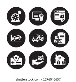 9 vector icon set : Puncture in a wheel, Problem electric, Medical insurance, Moving Overturned car, Payment protection, Parking crash, Luggage insurance isolated on black background