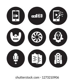 9 vector icon set : slow motion, slide projector, Seat, Shakespeare, Shutter, slapstick, Silence, Scenario isolated on black background