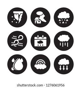 9 vector icon set : Snow storms, Smog, Raindrops, Rainfall, Rainy Day, Sleet, Sand Rainbow isolated on black background