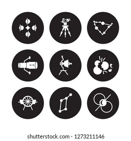 9 vector icon set : Solstice, Reflector, Airscrew, Big bang, Voyager, Capricorn, Hubble space telescope, Lyra Constellation isolated on black background