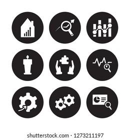 9 vector icon set : Stock market, data analysis, Setting flow interface, Sine Waves Analysis, Solution, Statistics, Speech, Service isolated on black background
