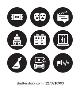 9 vector icon set : Ticket, Theatre, Spotlight, Stage, Storyboard, subtitle, studio, soundtrack isolated on black background