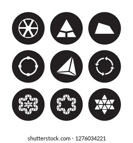 9 vector icon set : Triangle inside hexagon, Triangle, Star ornament of triangles, Synergy, Tetrahedron, Trapezium, Transform, small triangles isolated on black background