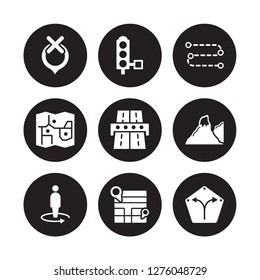 9 vector icon set : Unavailable Location, Traffic lights, Street view, Terrain, Toll road, Track, Touristic map, Map isolated on black background
