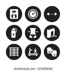 9 vector icon set : Weight scale, plates, Trellis, Triceps bar, Waist, Water bottle, Treadmill isolated on black background