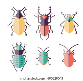 9 vector Insects and Beetles on a white background