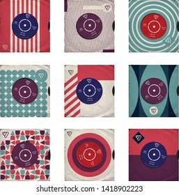 9 vector records in sleeves, retro style