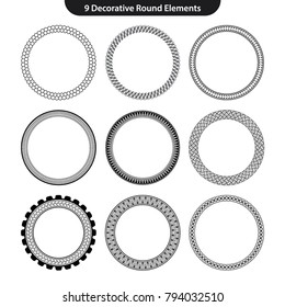 9 Vector set of round decorative patterns border frame. Collection of circles ornament isolated on the clear white background for frameworks,invitation card, photo and banners design