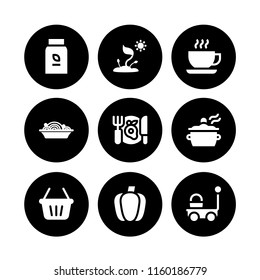 9 vegetable icons in vector set. cook, food, sprout and shopping basket illustration for web and graphic design