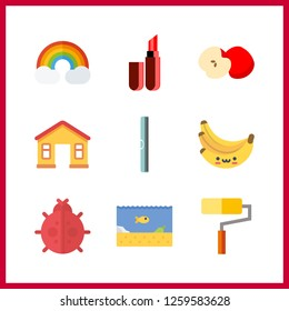 9 vibrant icon. Vector illustration vibrant set. apple and ruller icons for vibrant works