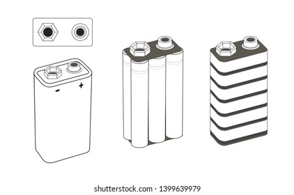 9 volt nickel, alkaline or lithium battery scheme. Battery inside. Isolated vector illustration.