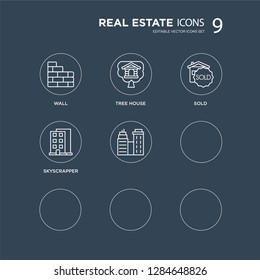 9 Wall, Tree house, Realtor, Rent, , Sold, Skyscrapper, Real estate modern icons on black background, vector illustration, eps10, trendy icon set.
