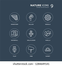 9 Windstorm, Willow, Tulip, Vanilla, Wallflower, Wedelia, Waterfall, Tree modern icons on black background, vector illustration, eps10, trendy icon set.
