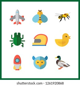 9 wing icon. Vector illustration wing set. bee and helmet icons for wing works